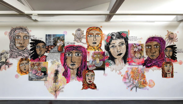 Amani Haydar & Ms Saffaa, Mural, 2019. Paste-up, newsreel, mixed media, dimensions variable.
