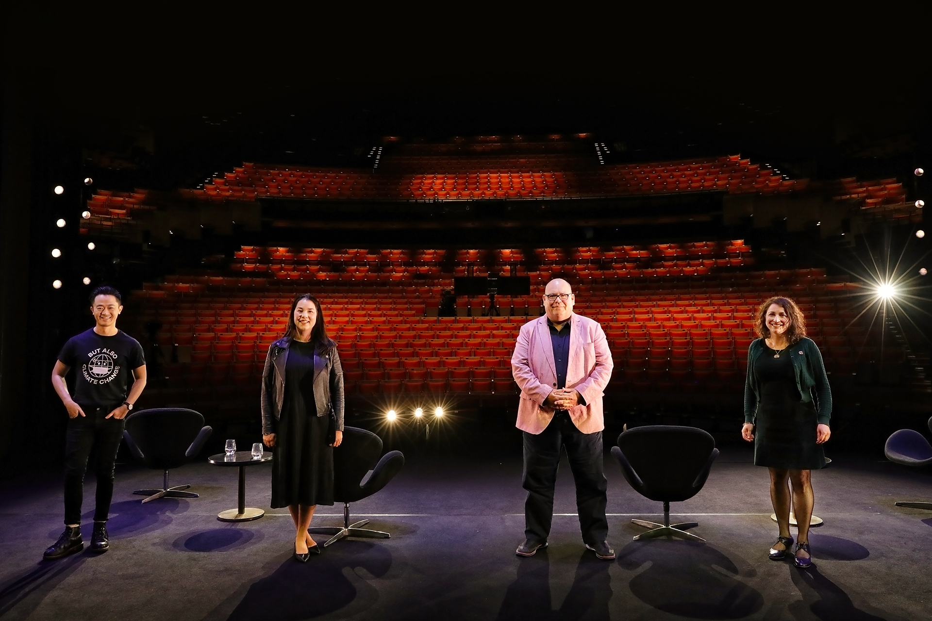 Benjamin Law, Mikala Tai, Peter White and Lena Nahlous standing on stage at the Sydney Opera House