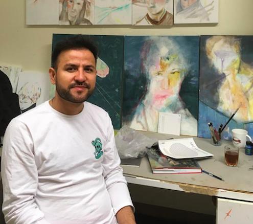 Elyas Alavi in his painting studio