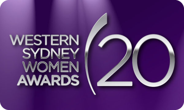 Award graphic showing silver writing 'Western Sydney Women Awards' on a purple background